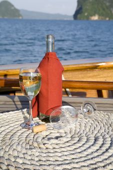 Wine On A Yacht Royalty Free Stock Photos