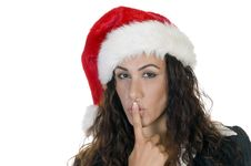 Free Christmas Lady Making Silence Sign Stock Images - 6444804