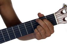 Hand Of Male Playing Guitar Royalty Free Stock Photo