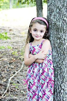 Free Girl By Tree Stock Photography - 6445132