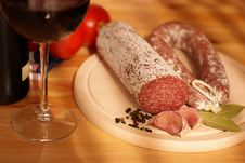 Free Sausage, Tomatoes And Wine Stock Image - 6445321