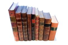 Row Of Antique Leather Books Royalty Free Stock Photo