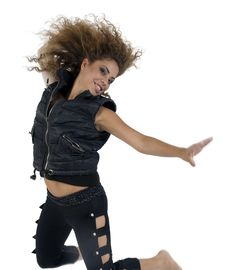 Free Jumping Woman In Black Royalty Free Stock Images - 6445639