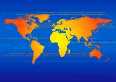 World Map With Binary Technology Stock Image