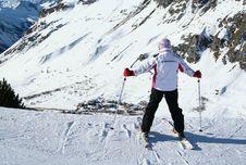 Skier And Mountain Royalty Free Stock Photos