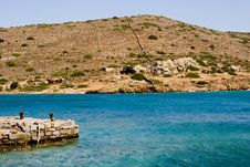 Dockyard At Spinilonga, Crete Stock Photos
