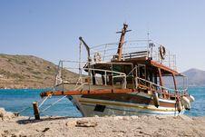 Boat Dockyard At Spinilonga, Crete Royalty Free Stock Image