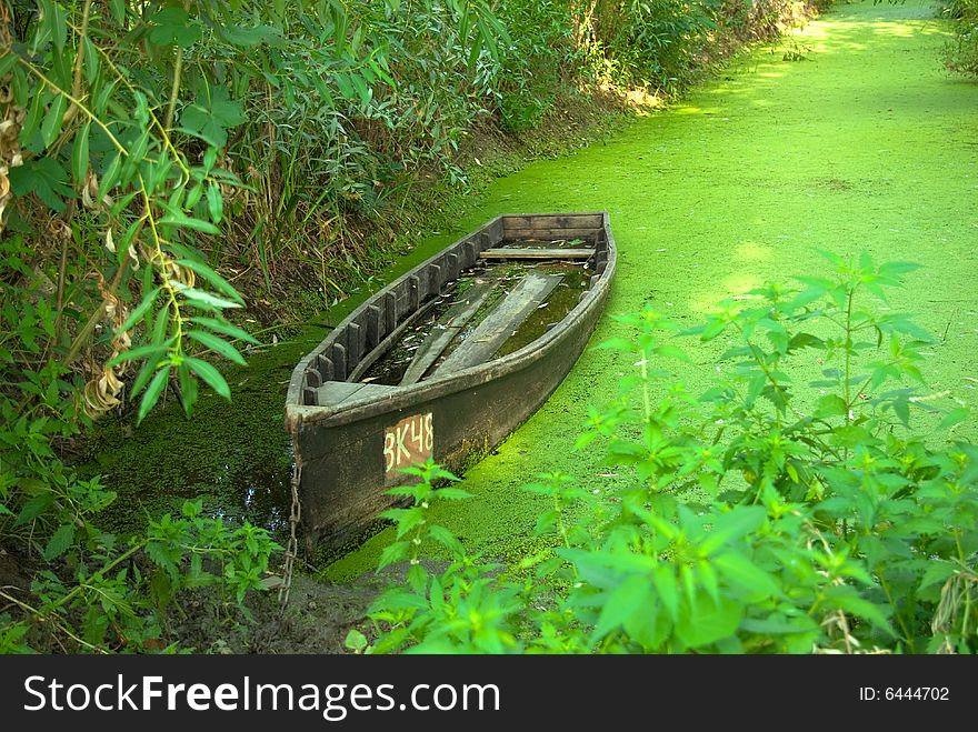 Traditional wooden boat on the river