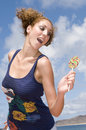 Free Fun Blonde Girl With Lollypop In Clouds Background Stock Photos - 6458023