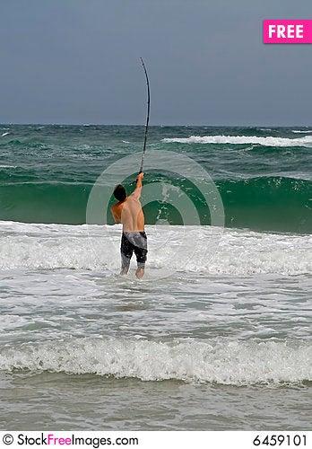 Free Man Surf Fishing Stock Image - 6459101