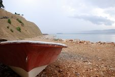Old Rowing Boat And Sea Stock Images