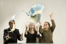 Throwing Paper In The Air Stock Image