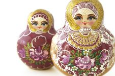Free Two Russian Dolls Isolated Royalty Free Stock Image - 6451056