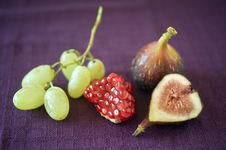 Figs Pomgranate And Grapes Stock Images