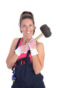 Woman With Black Rubber Mallet Stock Image