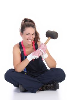 Free Woman With Black Rubber Mallet Stock Image - 6451951