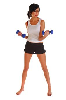 Free Attractive Woman Working Out With Dumb Bells Stock Image - 6452251