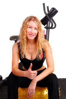 Free Young Woman Giving Thumbs Up After Workout Stock Image - 6452281