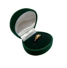 Green Ring-box With Gold Ring Stock Photo