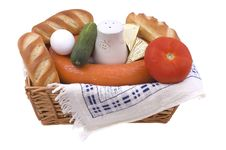 Wattled Basket With Food. Royalty Free Stock Images