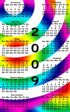 2009 Calendar Happy New Year Stock Images