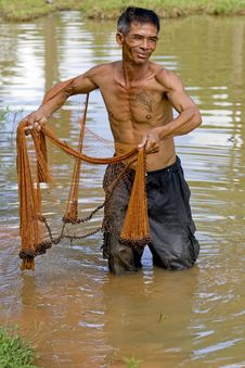 Free Fisherman Of Thailand With Throw Net Stock Photography - 6454272