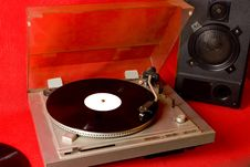 Free Record Player With Records And Speaker Stock Photo - 6454690