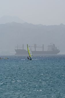 Windsurfing On The Red Sea Royalty Free Stock Images