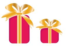 Free Two Giftbox With Golden Bow Stock Image - 6455221