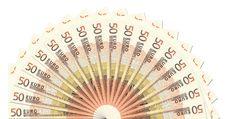 50 Euro Notes Half Circle Template Stock Photo