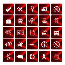 Free Glossy Red Icons Royalty Free Stock Photo - 6455755