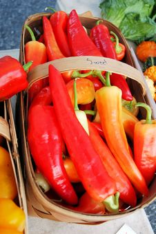 Free Red Peppers At The Farmers Market Stock Photography - 6456002
