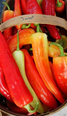 Free Basket Of Peppers Royalty Free Stock Photos - 6456008