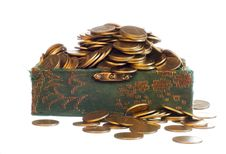 Riches, Gold Coins In A Chest Stock Photography