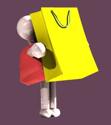 Free Shopping Girl With Bag Royalty Free Stock Photography - 6456837