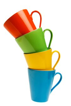 Free Multicolored Cups In Stack, Isolated Stock Images - 6457534