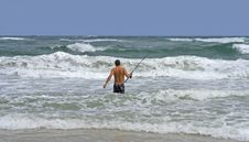 Man Surf Fishing Royalty Free Stock Image