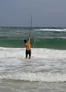 Free Man Surf Fishing Stock Image - 6459101