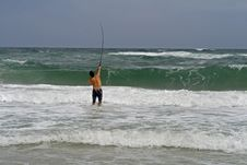 Free Man Surf Fishing Stock Images - 6459104