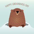Free Happy Groundhog Day Design With Cute Groundhog Royalty Free Stock Photos - 64506598