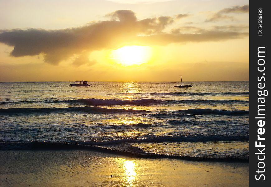 Sunrise on tropical sea sand beach