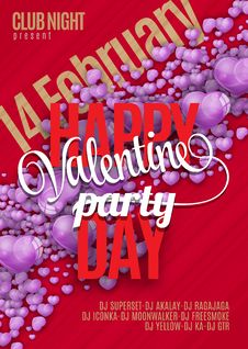 Valentines Day Party Flyer Design. Vector Template Of Invitation, Flyer, Poster Or Greeting Card Stock Image
