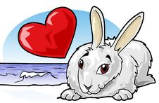 Cute Rabbit, Heart And Sea Royalty Free Stock Image