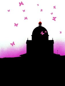 Free Butterflies Surrounding An Old Church Stock Images - 6463824