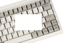Computer Keyboard And Blank Business Card Stock Photography