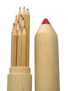 Pencil-case And Pencils Royalty Free Stock Images