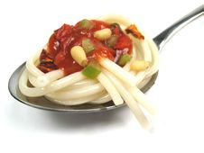 Spaghetti On Spoon Royalty Free Stock Images