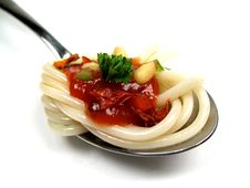 Spoon With Spaghetti Stock Photography