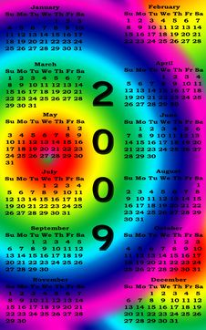 Happy New Year 2009 Calendar Stock Image
