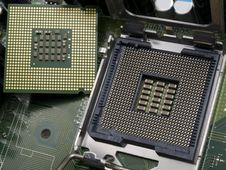 Computer CPU With Motherboard Stock Image